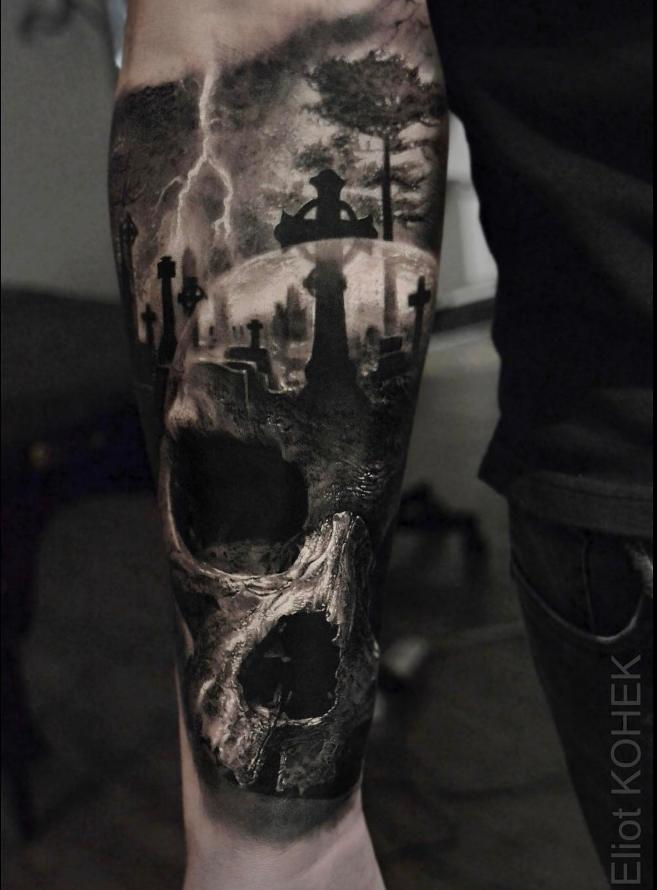 tattoodotcom inkoftheday by eliot kohek blackandgray blackandgraytattoo skulltattoo. Black Bedroom Furniture Sets. Home Design Ideas