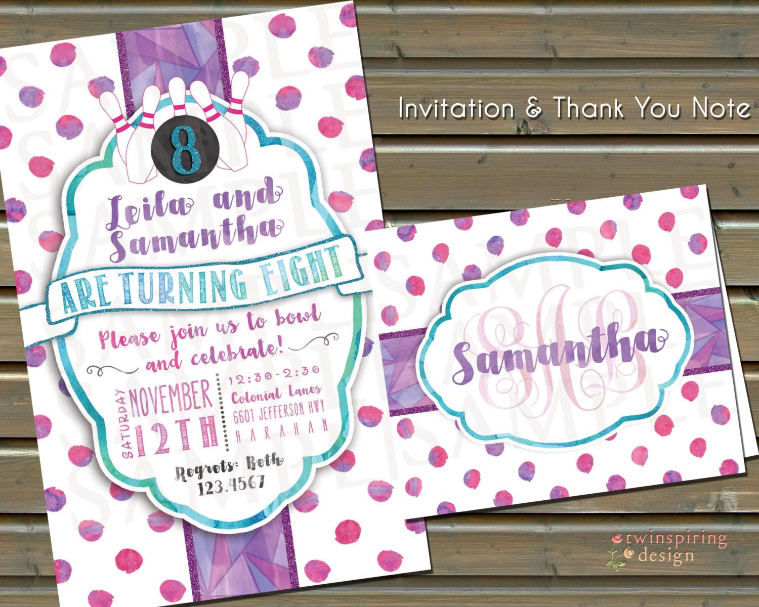 Bowling Girl\'s Birthday Party Invitations and/or Thank You Notes ...