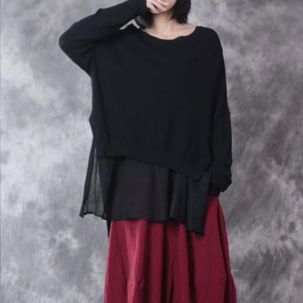 Loose Round Neck Linen Black Sweater