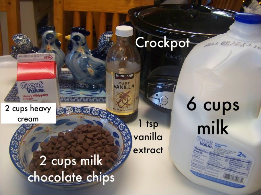 Crock pot hot chocolate. Great for a large group! Christmas morning