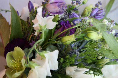 Flower Design Events: Wild Wedding Bouquet in Lavender, Violet, Sage Green & Ivory