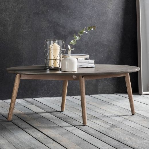 Brooklyn oval coffee table concrete modern coffee side tables