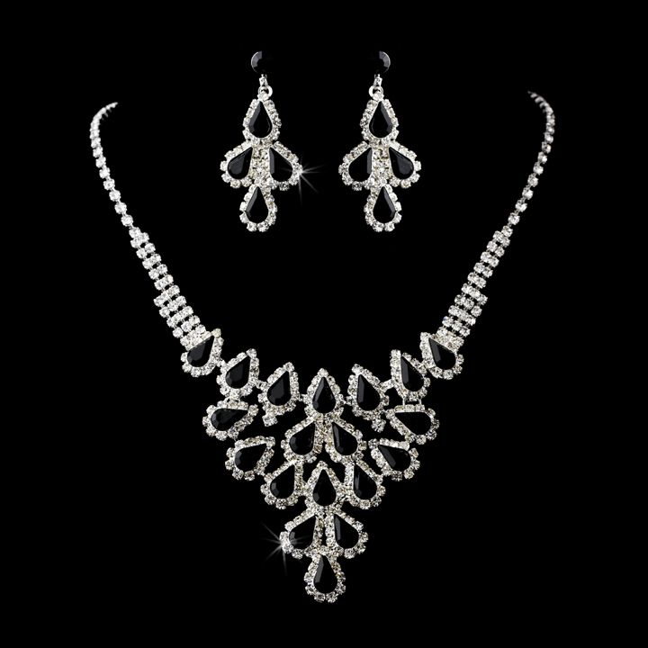 black rhinestone wedding and prom jewelry set black and