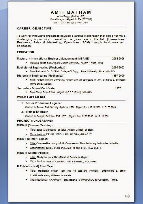 great resume templates Sample Template Example of ExcellentCV - example of career objective