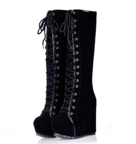d420c5a6b68 Awesome Womens Goth Roman Super Platform Wedge Heels Lace Up Knee High  Boots https