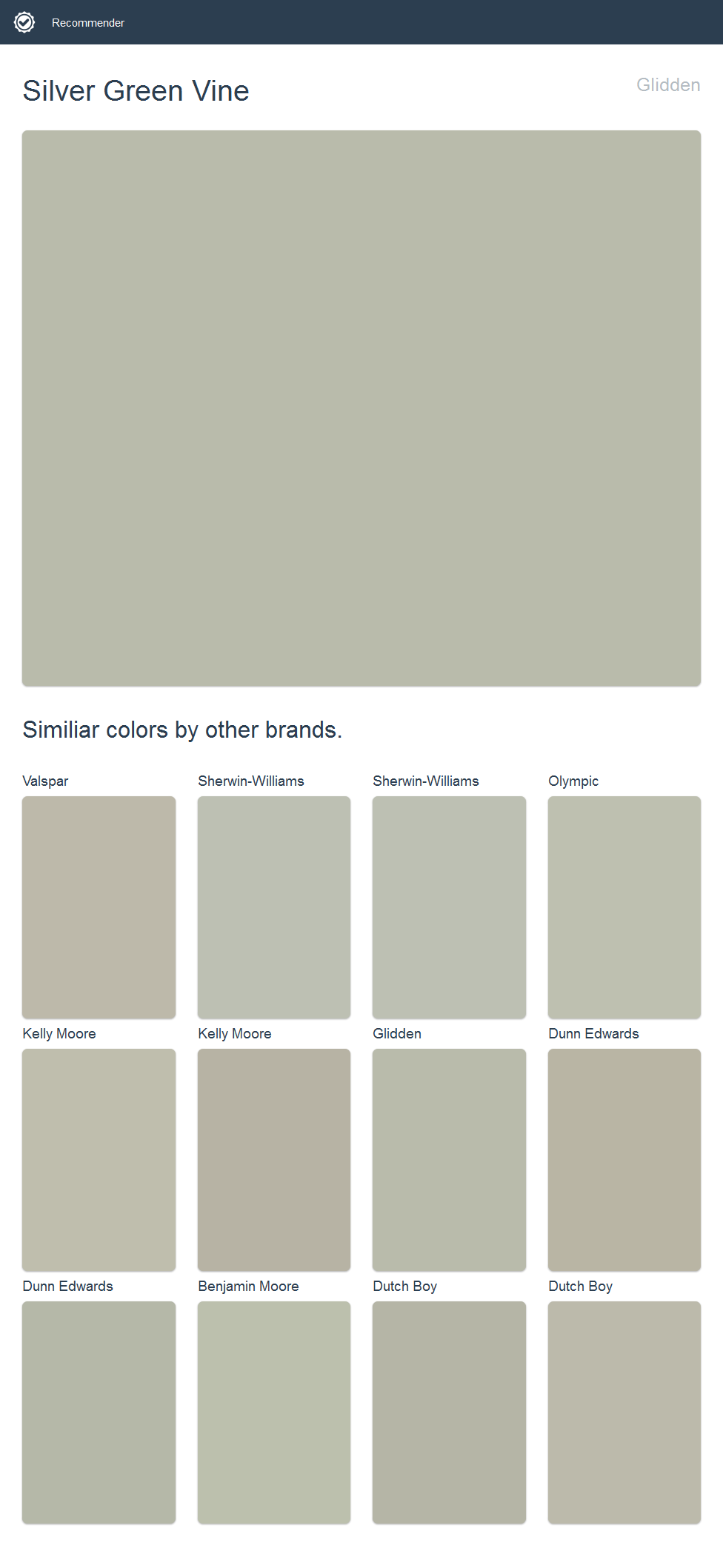 Silver Green Vine Glidden Click The Image To See Similiar Colors By Other Brands