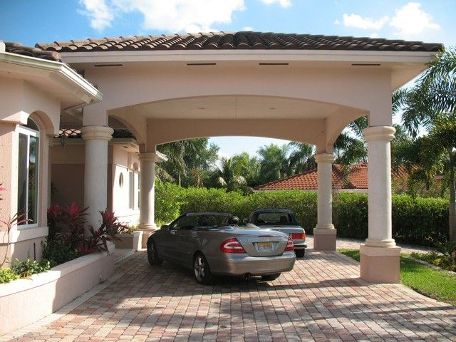 Carport Roof Line Brick Drive And Columns