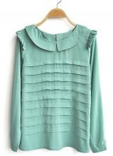 Light Green Frill Long Sleeve Tiered Pleated Chiffon Blouse