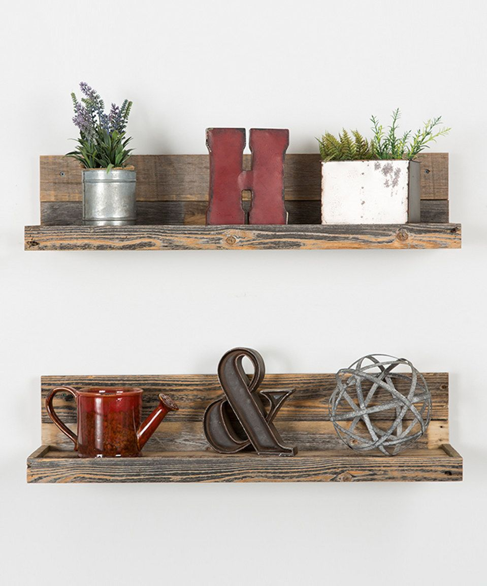 Another Great Find On Zulily Barnwood Floating Shelves Set Of Two By Delhutson Designs Zulilyf Floating Shelves Floating Shelf Decor Wood Floating Shelves