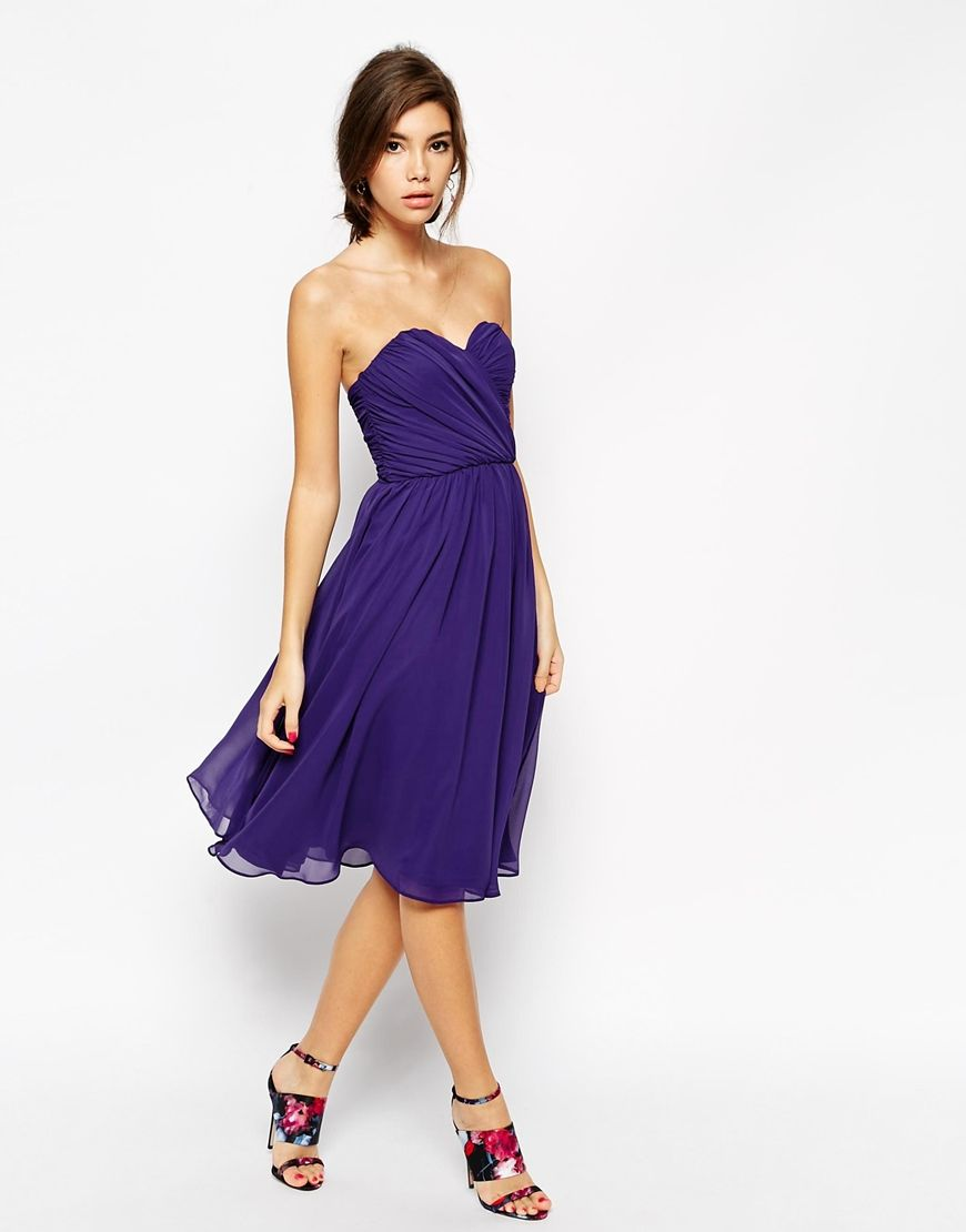 Image 1 of ASOS Bandeau Midi Dress | Wedding Dress Ideas (Guest ...