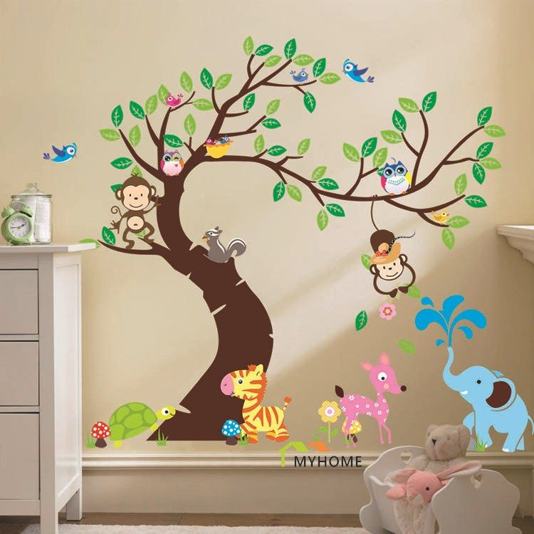 Cartoon Monkey Animals Tree Jungle Theme Wall Art Decal Sticker Mural Decoration