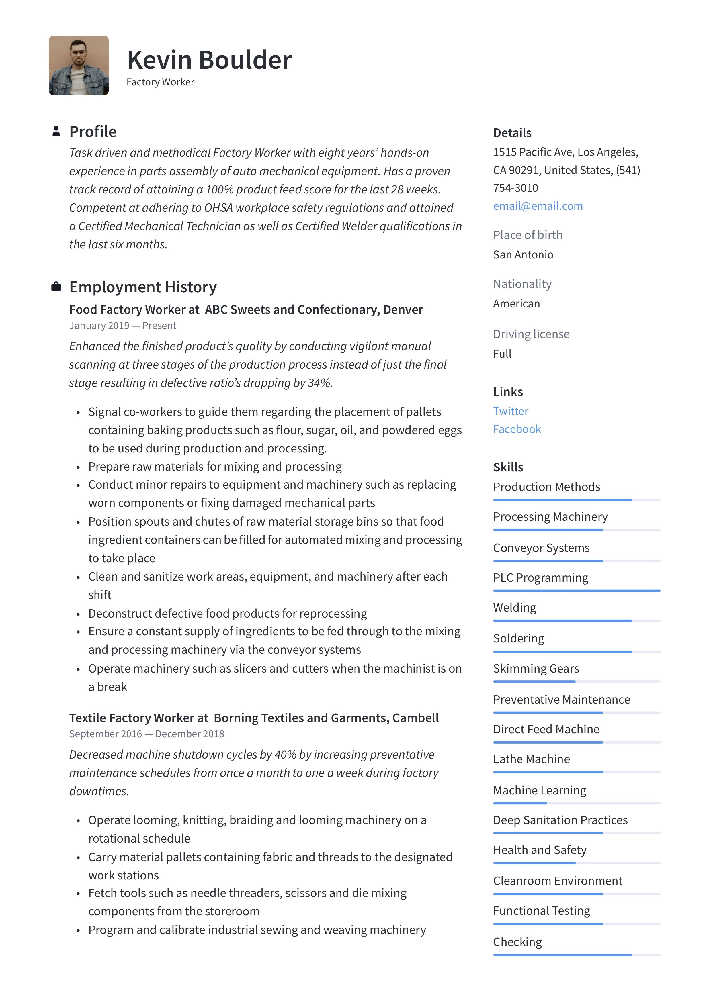 Factory Worker Resume & Writing Guide in 2020 Resume