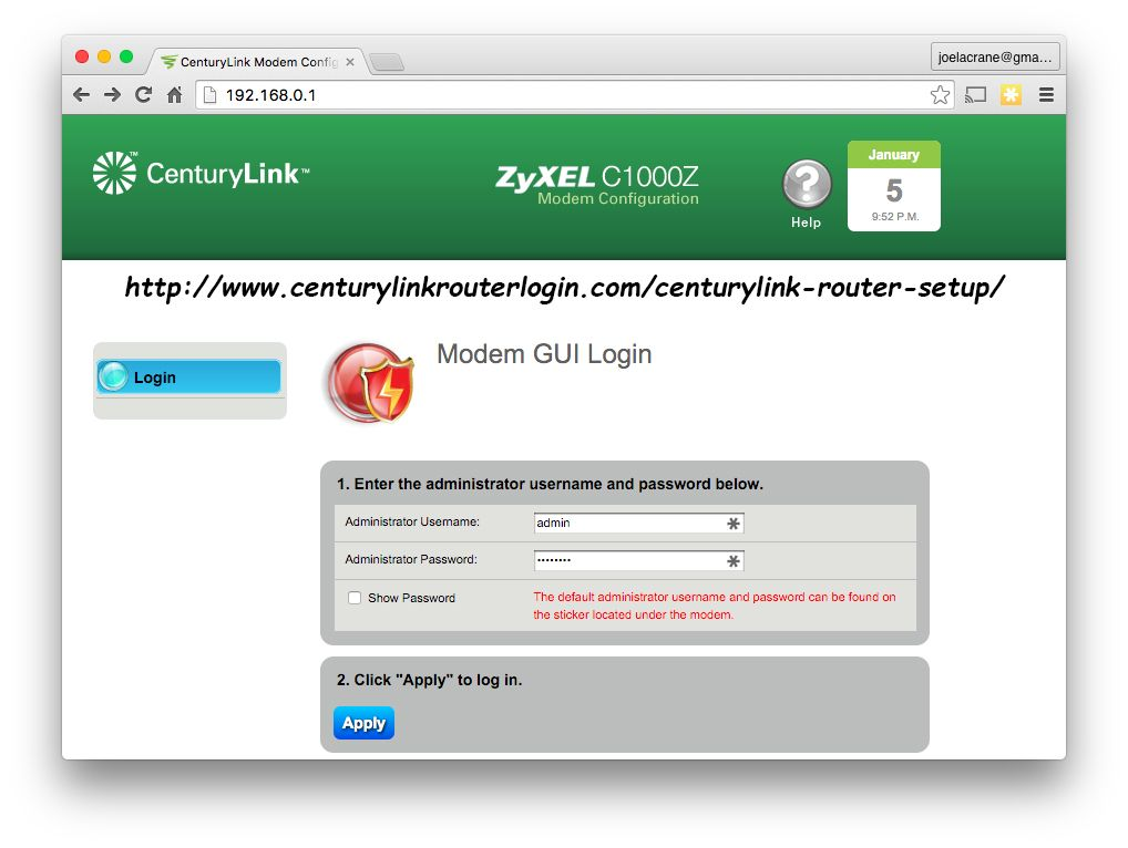 You May Need To Reset The Default Password For 192 168 0 1 Centurylink Login Page In Many Cases If You Forgot The Login Details For Accessing The Mycenturylink