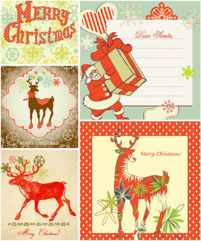 Vintage Christmas Postcards | Vintage Christmas Card Templates Vector | Free  Stock Vector Art ..