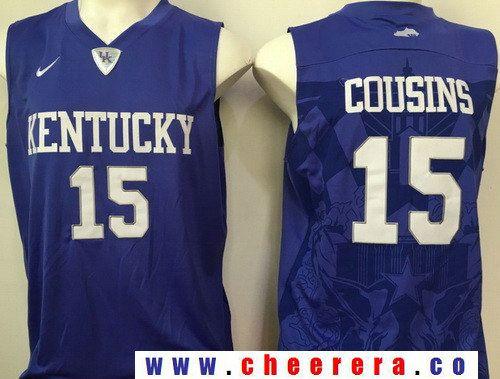 online retailer e6a6f 58e2b Men's Kentucky Wildcats #15 DeMarcus Cousins Royal Blue ...