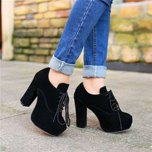 Aliexpress.com: Comprar 5 colores para mujer plataforma Chunky bloque  inferiores rojos de tacón alto botines con cordones para mujer Faux Suede  zapatos más ...