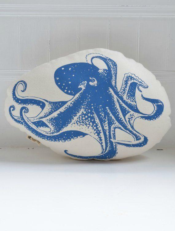 Octopus Pillow - Organic Cotton - Octopus Plush - Animal Accent Pillow - Throw Pillow - Nursery Decor- Plushie - USA Made - Stuffed Animal