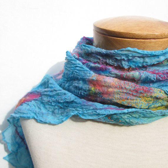 Sky blue nuno felt scarf by BlindSquirrel on Etsy, $74.00