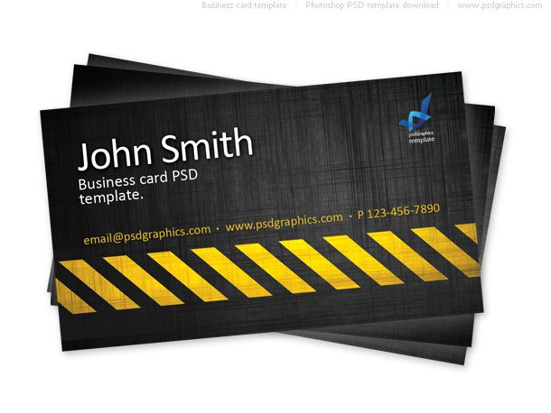 Awesome business card template building risk stripes subject construction and danger theme design print ready business card template in photoshop psd format scratched black texture background with a grungy yellow cheaphphosting Images