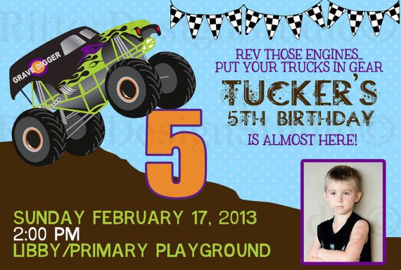 Grave Digger Monster Truck Birthday Invitation Printable Tyson