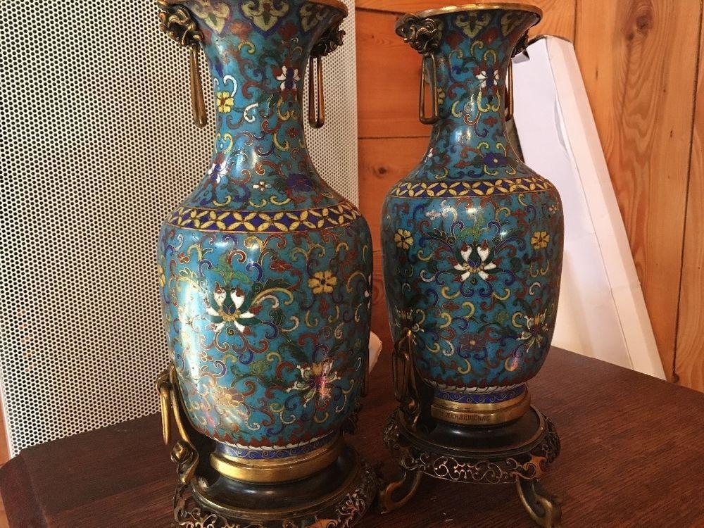 Exceptionnel Ancien vase en bronze cloisonné chinois signé Barbedienne Chine  SC03