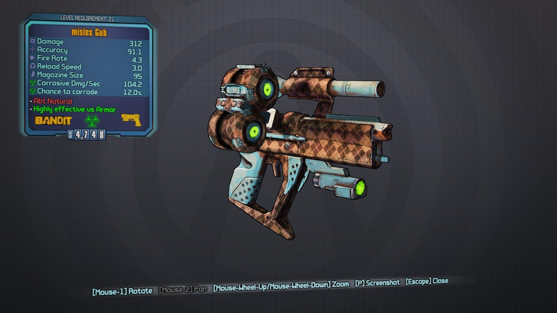 Gub Legendary pistol Borderlands series, Borderlands