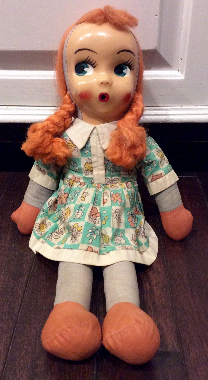 Vintage Mask Face Big Eyed Rag Dol, Vintage Rag Dolls, Kitschy Dolls, Collectible Dolls, Vinyl Face Doll,Handmade Doll,Mask Face Polish Doll by Lalecreations on Etsy