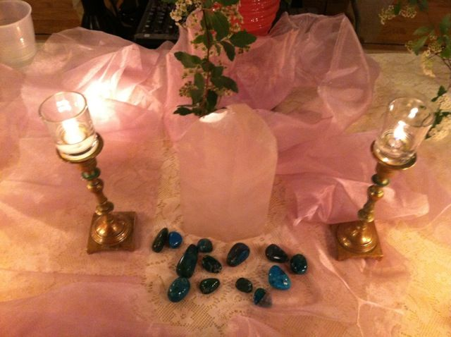 Crystal Altar on the Solstice event table