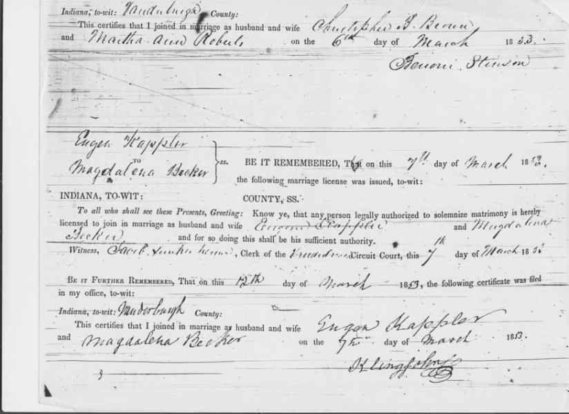 Marriage license for Eugene Kappler Sr and Magdalena Becker