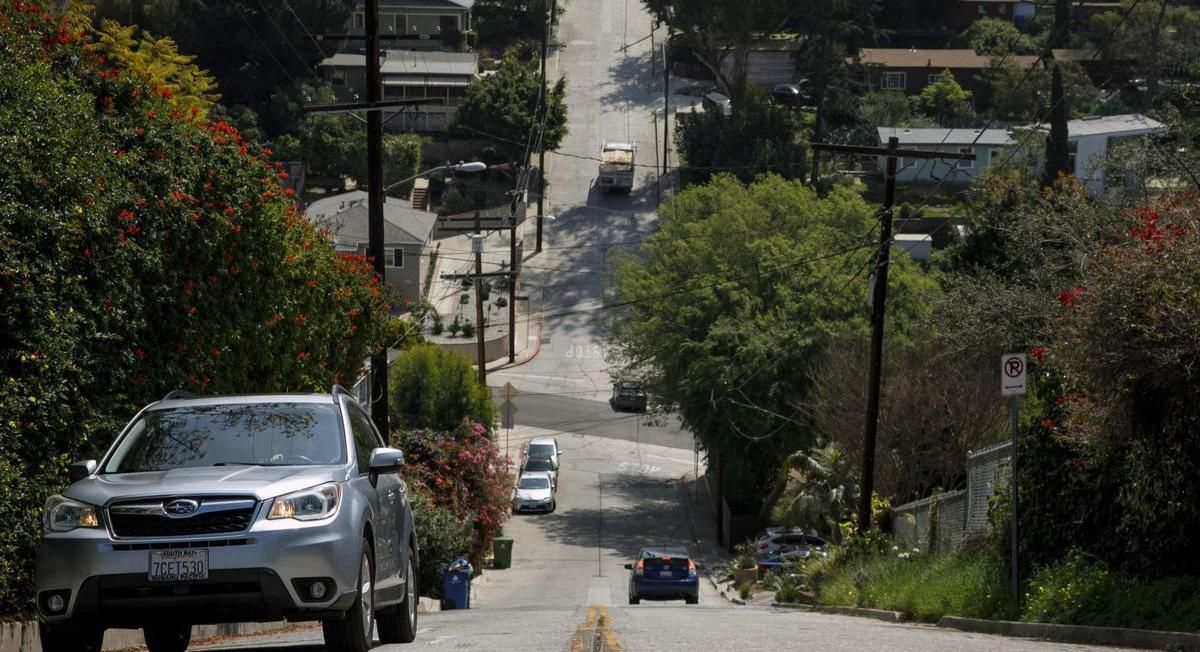 On one of las steepest streets an appdriven frenzy of