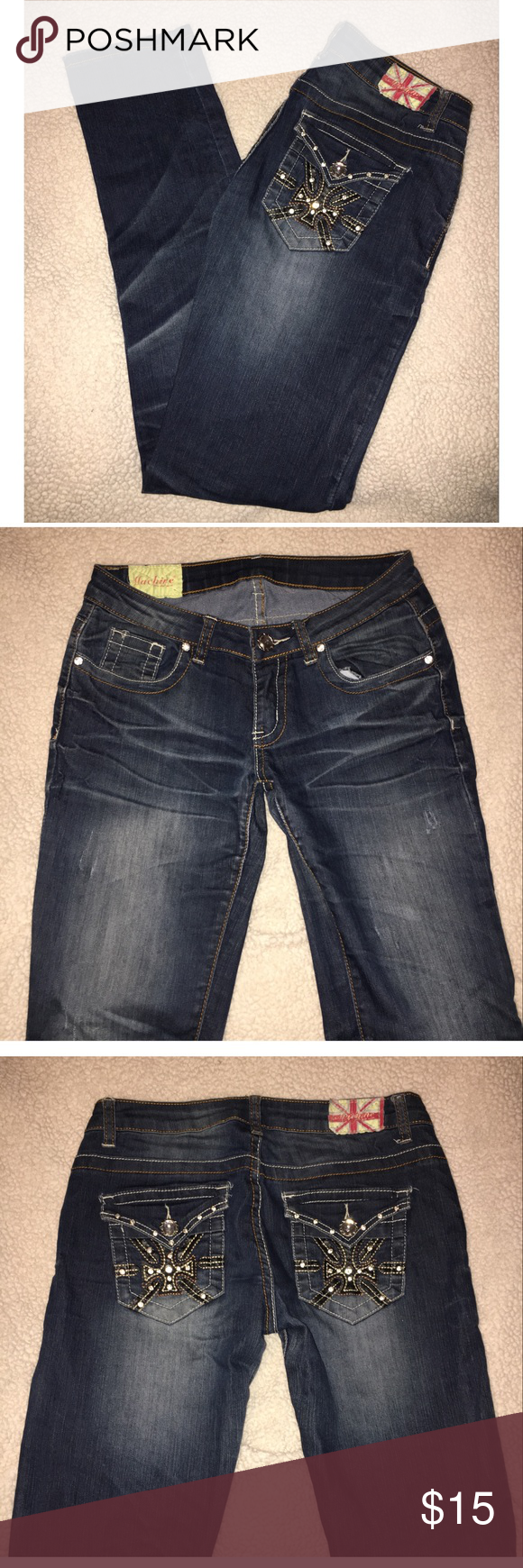Juniors Skinny Jeans Bedazzled straight leg jeans. Very comfy and cute. Open to offers :) Pants Skinny