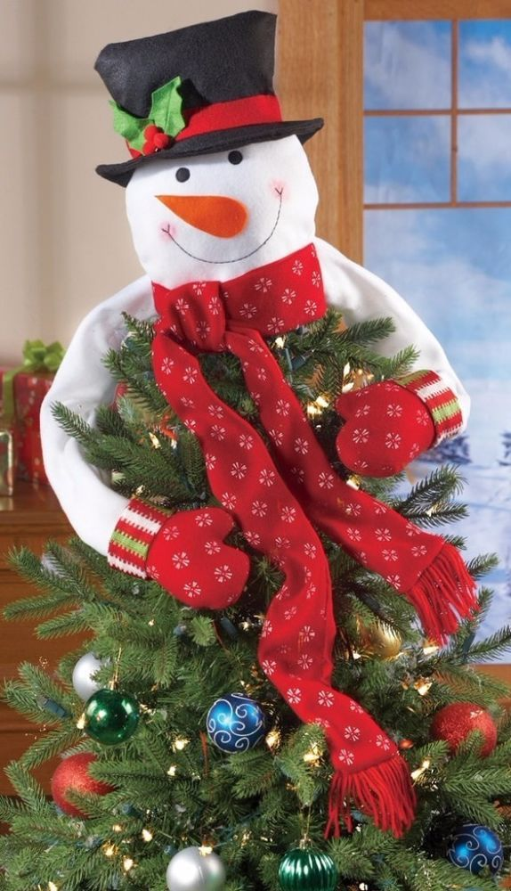 Christmas Snowman Top of The Tree Hugger Red Mittens Scarf Holiday