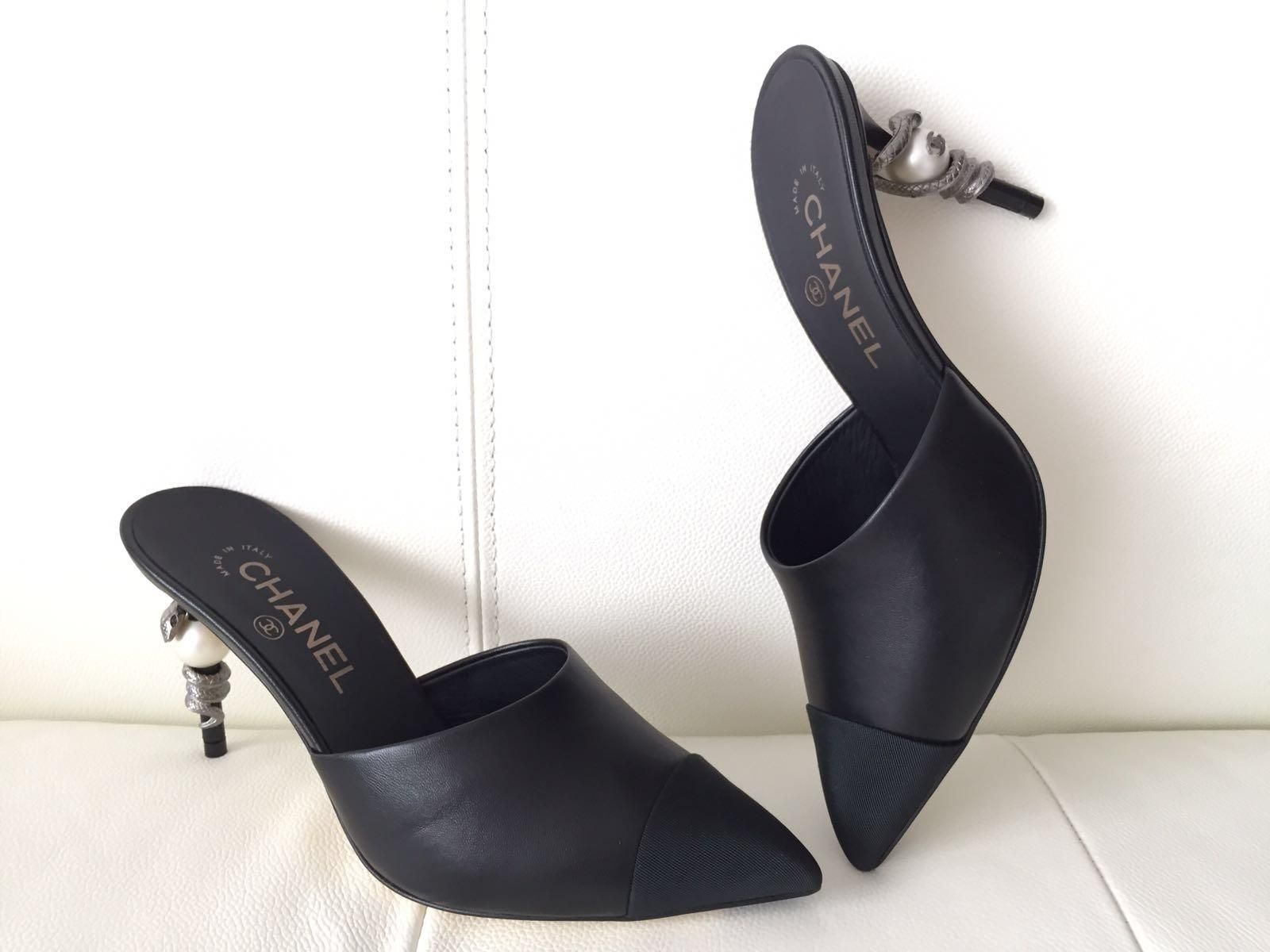 e4192c7f42 Chanel Runway Leather Mules Heels Pearl Snake 38.5 Black Pumps. Get the  must-have