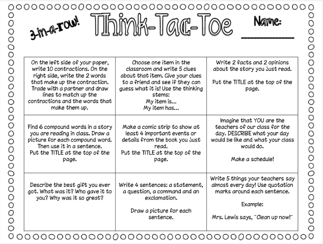 Think Tac Toe Classroom Freebies End Of Year Opinion Writing Emergency Sub Plans