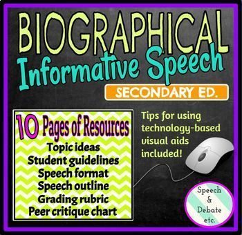 biographical informative speech guidelines outlines rubric peer