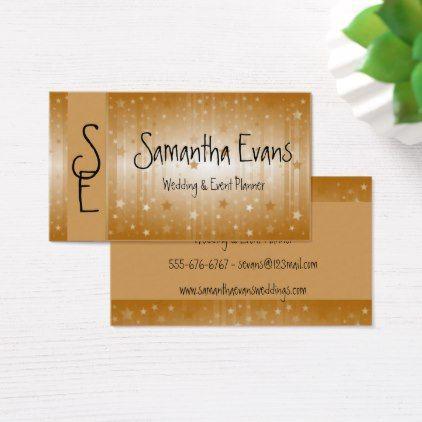 Wedding - Event Planner - Business Card Template - gold wedding - event card template