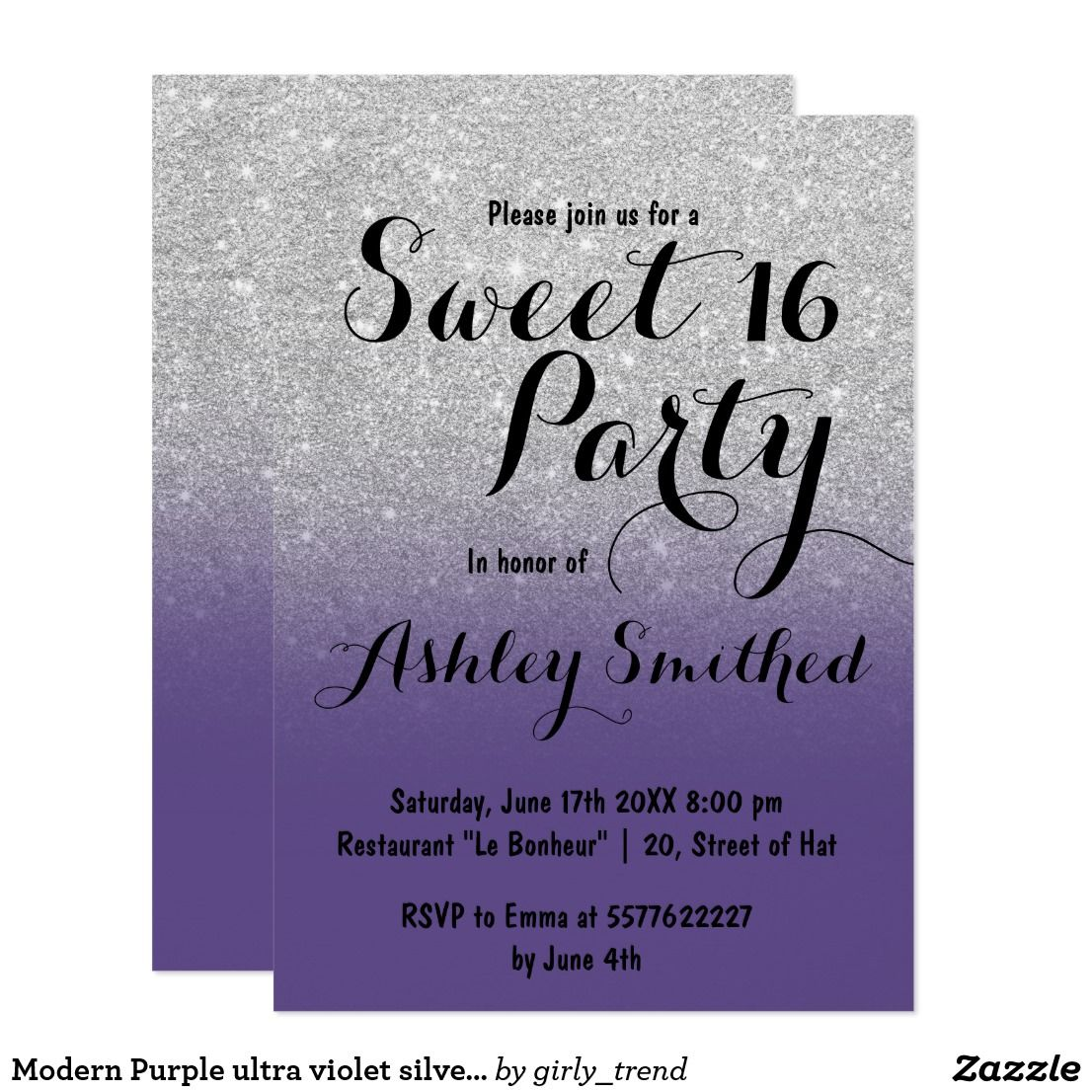 Modern Purple Ultra Violet Silver Ombre Sweet 16 Invitation