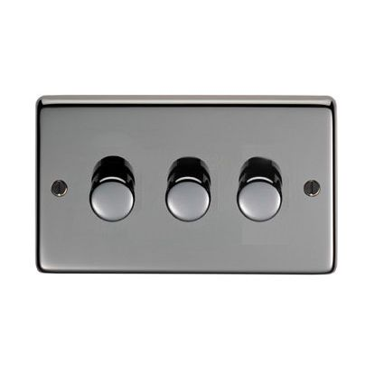 Black Nickel Triple Dimmer Switch 400w Electrical Switches Nickel Finish