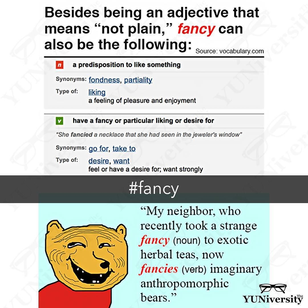 """""""Fancy"""" is a fancy word (ω) that is more than just an adjective that means """"not plain."""" As a noun it means """"inclination"""" or """"liking""""; as a verb it means """"to like"""" or """"to imagine or think."""" #vocabulary #grammar #fancy #english #esl #efl"""