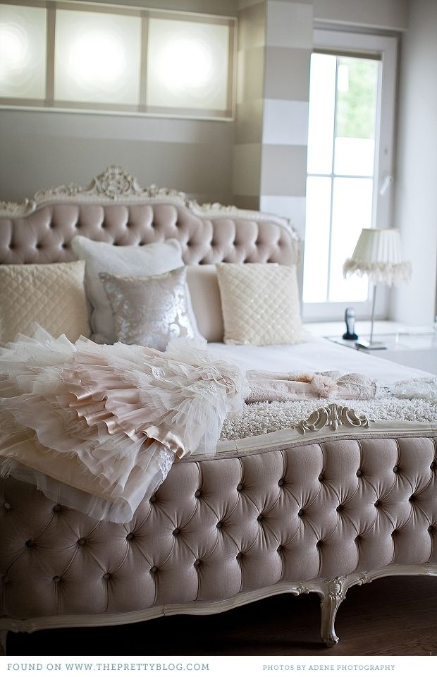 pretty in pink / absolutely in love with everything in this room - romantic tufted bed, elegant striped walls, embellished lampshade, and of course the tulle dress on the bed.