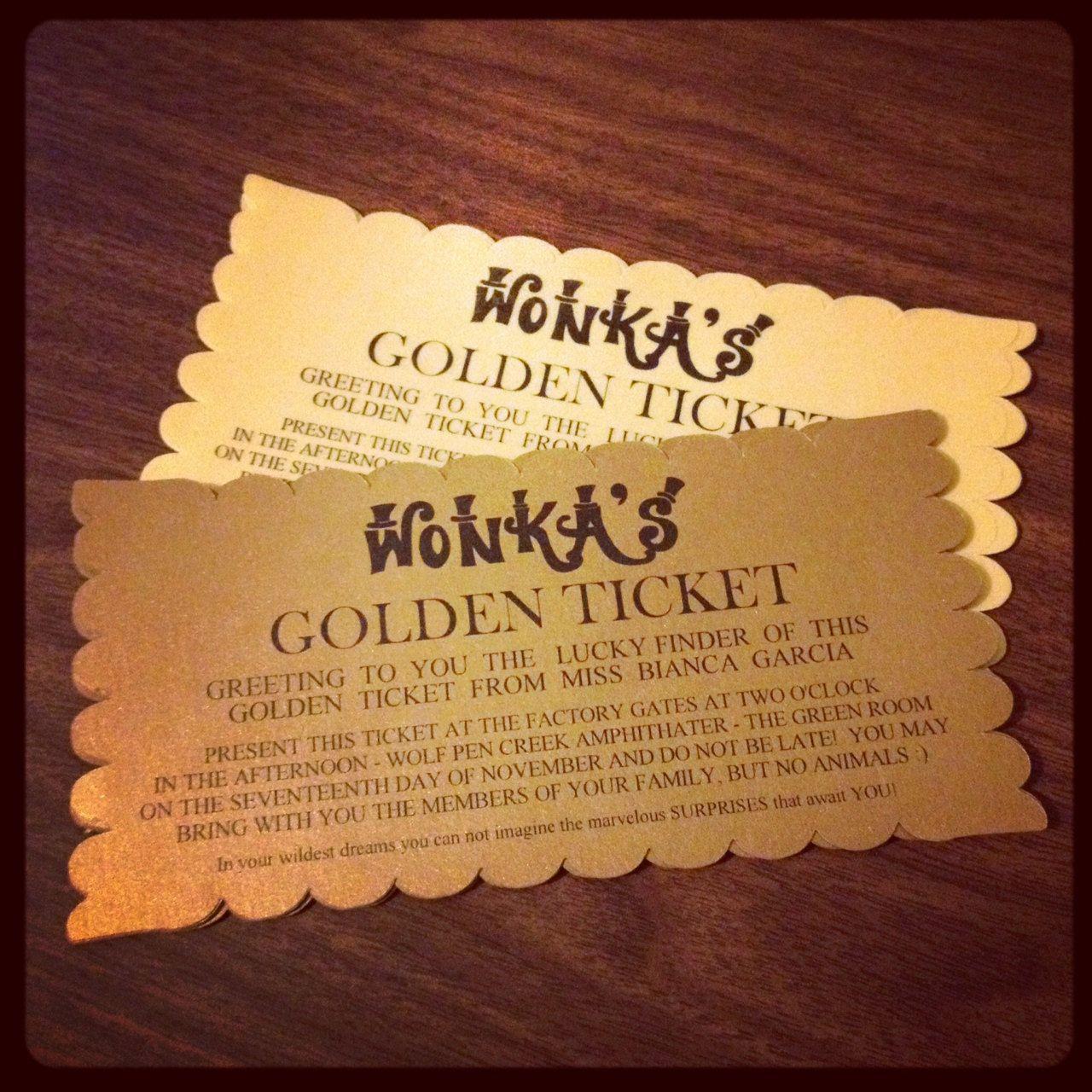 Golden Ticket Birthday Invitations. $29.95, via Etsy. | Parties ...