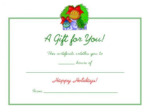 Free Holiday Gift Certificates Templates to Print Gift - blank greeting card template word