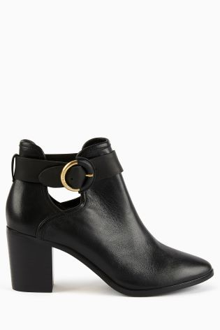 Ted Baker Black Leather Sybell Buckle Ankle Boot