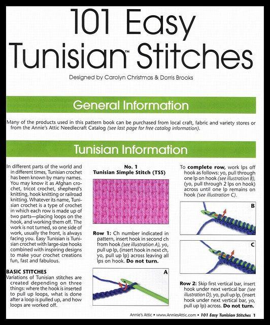 101 EASY TUNISIAN STITCHES pg 1 | Crochet tunecino, Punto de crochet ...