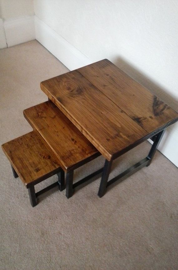 Nest Of 3 Rustic Coffee Tables Wood Metal Industrial Chic Etsy Coffee Table Design Modern Coffee Table Wood Rustic Coffee Tables