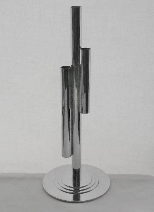 SUPERB Signed CHASE MODERNIST Art Deco CHROME Cylinders BUD VASE or CANDLEHOLDER
