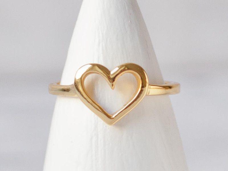 Ring Herz Sterling Silber vergoldet Geburtstag von Oh Bracelet Berlin - Armbänder, Ketten und Ringe auf DaWanda.com