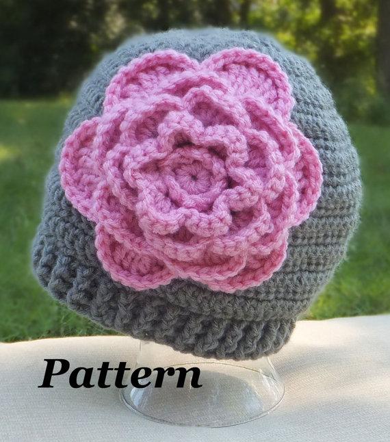 CROCHET PATTERN: Bloomin\' Beanie Flower Crochet Pattern, Crochet PDF ...