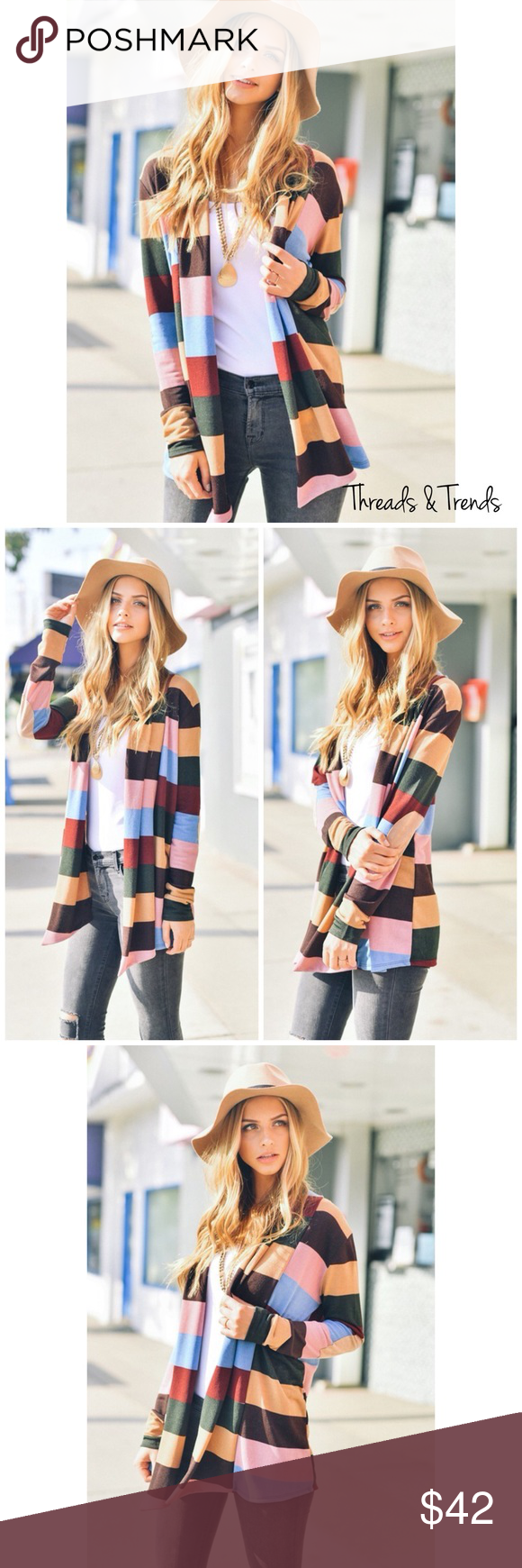 How To Include Taxidermy Into Trendy Home Decor: Mia Striped Open Cardigan We're Loving This Beauty. Put Some Color Into Your Wardrobe This