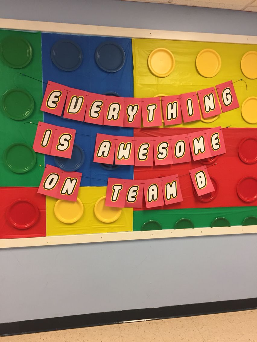 Lego Themed Bulletin Board Made With Tablecloths And Paper